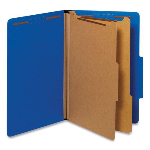 Bright Colored Pressboard Classification Folders, 2 Dividers, Legal Size, Cobalt Blue, 10/Box. Picture 1