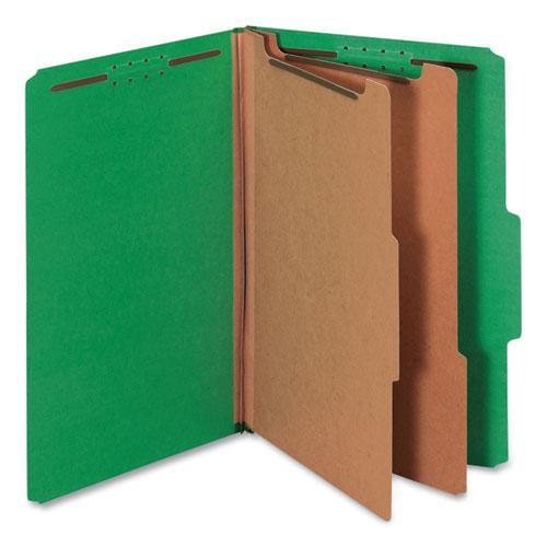 Bright Colored Pressboard Classification Folders, 2 Dividers, Legal Size, Emerald Green, 10/Box. Picture 1