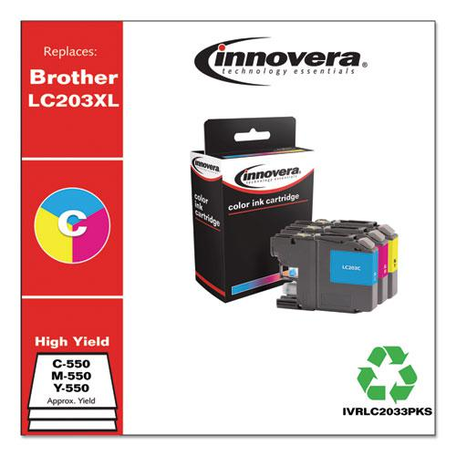 Remanufactured Cyan/Magenta/Yellow High-Yield Ink, Replacement for Brother LC2033PKS, 550 Page-Yield. Picture 2