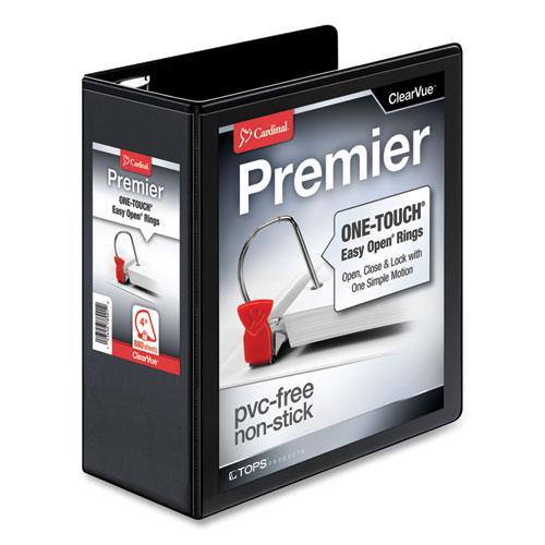 "Premier Easy Open ClearVue Locking Slant-D Ring Binder, 3 Rings, 4"" Capacity, 11 x 8.5, Black. Picture 1"