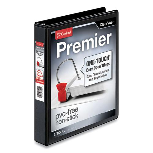 "Premier Easy Open ClearVue Locking Slant-D Ring Binder, 3 Rings, 1"" Capacity, 11 x 8.5, Black. The main picture."