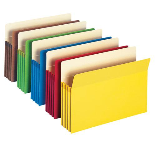 """Colored File Pockets, 3.5"""" Expansion, Letter Size, Assorted, 5/Pack. Picture 3"""