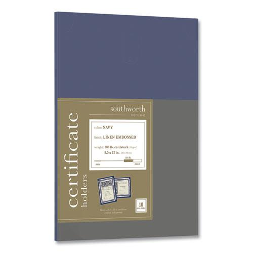 Certificate Holder, Navy, 105lb Linen Stock, 12 x 9 1/2, 10/Pack. Picture 1