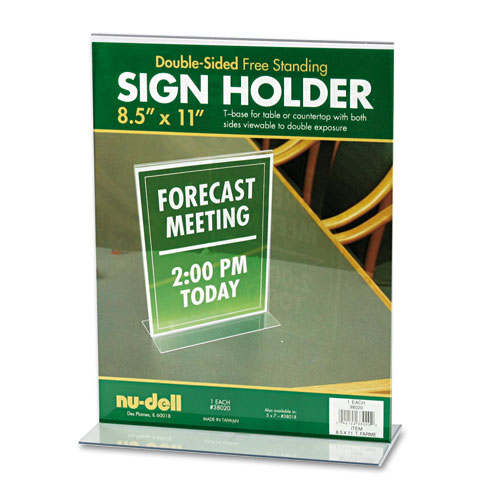 Acrylic Sign Holder, 8 1/2 x 11, Clear. Picture 1