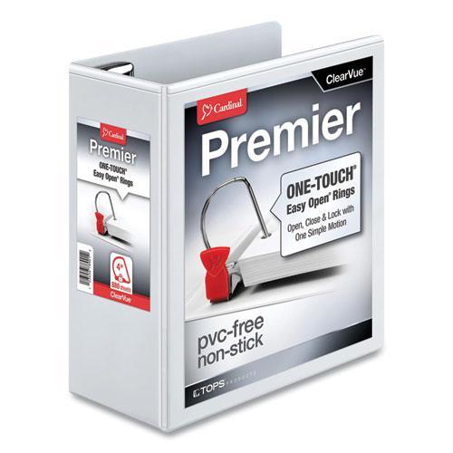 "Premier Easy Open ClearVue Locking Slant-D Ring Binder, 3 Rings, 4"" Capacity, 11 x 8.5, White. Picture 1"