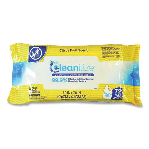 Disinfectant Surface Wipes, 7 x 7, Citrus Fruit Scent, White, 72/Pack, 12 Packs/Carton. Picture 2