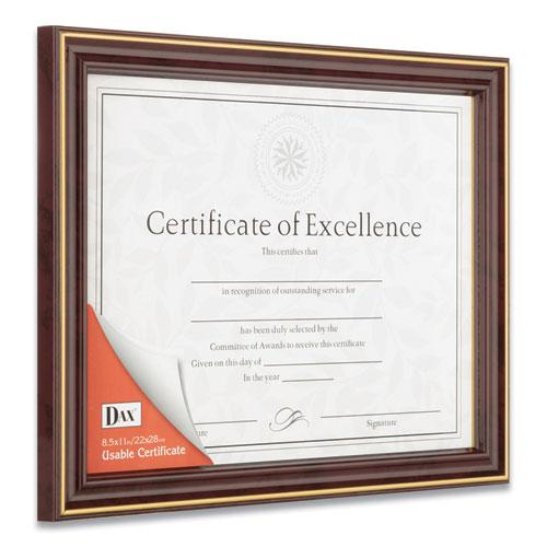 Gold-Trimmed Document Frame with Certificate, Wood, 8.5 x 11, Mahogany. Picture 4