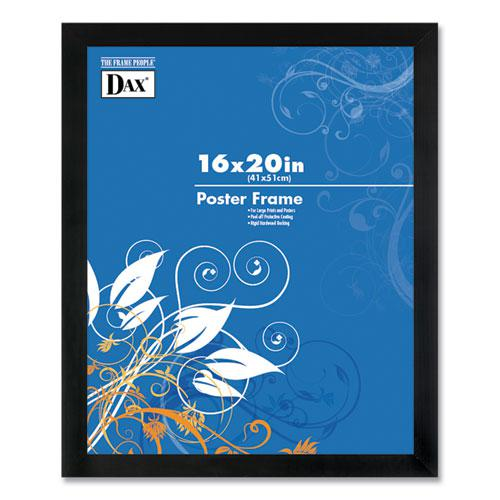 Flat Face Wood Poster Frame, Clear Plastic Window, 16 x 20, Black Border. Picture 1