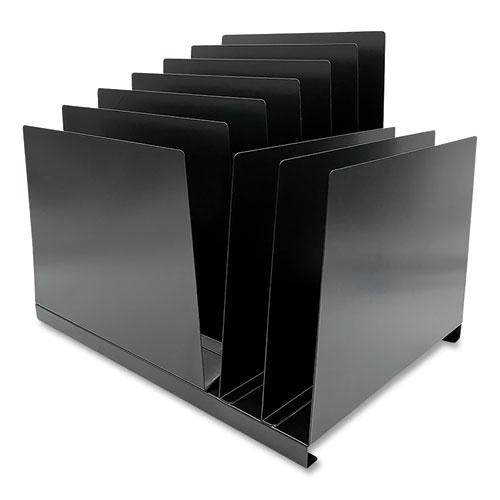 Steel Vertical File Organizer, Inclined/Flat, 9 Sections, Letter Size Files, 15.25 x 11 x 12.75, Black. Picture 2