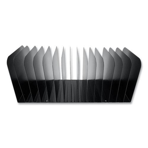 Steel Vertical File Organizer, Flat, 15 Sections, Letter Size Files, 16 x 6.25 x 6.5, Black. Picture 1