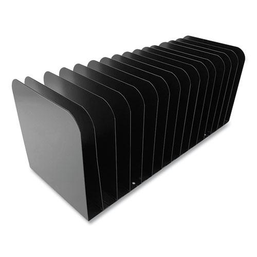 Steel Vertical File Organizer, Flat, 15 Sections, Letter Size Files, 16 x 6.25 x 6.5, Black. Picture 3