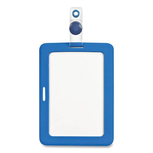 MyID Badge Holder, Vertical/Horizontal, 3 5/8 x 2 1/4, Blue, 1/ea. Picture 1