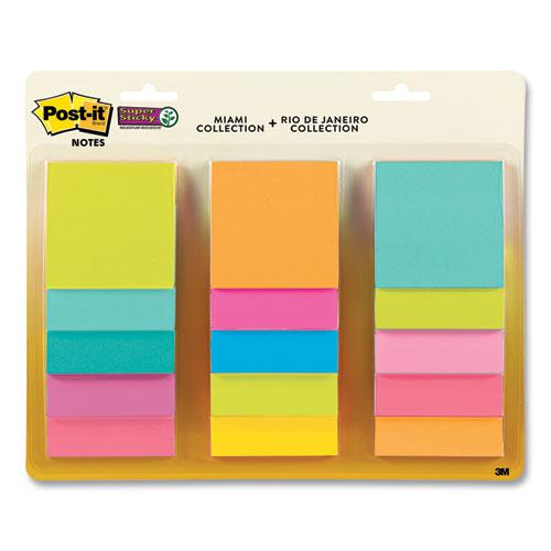 Pad Collection Assortment Pack, Miami Collection and Rio de Janeiro Collection, 3 x 3, 45 Sheets/Pad, 15 Pads/Pack. Picture 1