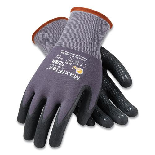 Endurance Seamless Knit Nylon Gloves, Medium, Gray/Black, 12 Pairs. Picture 1
