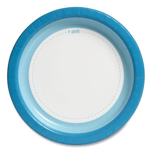 """Heavy-Weight Paper Plates, 10"""", White/Blue, 125 Pack. Picture 2"""