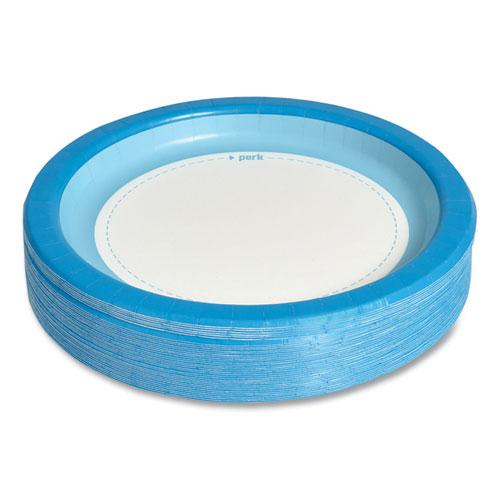 """Heavy-Weight Paper Plates, 10"""", White/Blue, 125 Pack. Picture 4"""