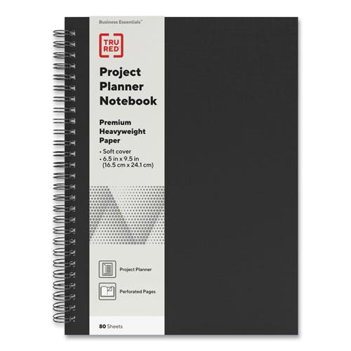 Wirebound Soft-Cover Project-Planning Notebook, Preprinted Planning Template, Black Cover, 9.5 x 6.5, 80 Sheets. Picture 1