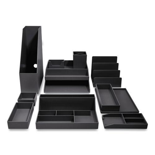 12-Piece Plastic Desk Set, Black. Picture 1