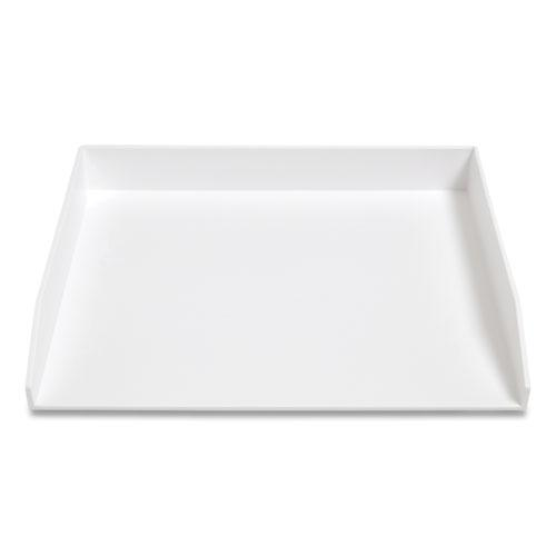 Side-Load Stackable Plastic Document Tray, 1 Section, Letter-Size, 12.24 x 9.8 x 1.75, White. Picture 1