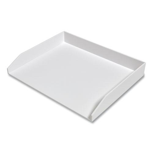 Side-Load Stackable Plastic Document Tray, 1 Section, Letter-Size, 12.24 x 9.8 x 1.75, White. Picture 2