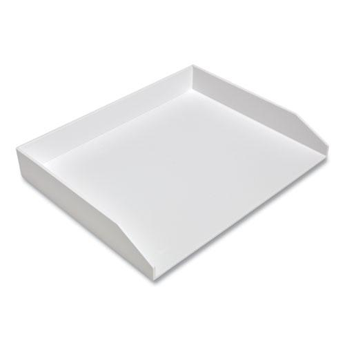 Side-Load Stackable Plastic Document Tray, 1 Section, Letter-Size, 12.24 x 9.8 x 1.75, White. Picture 3