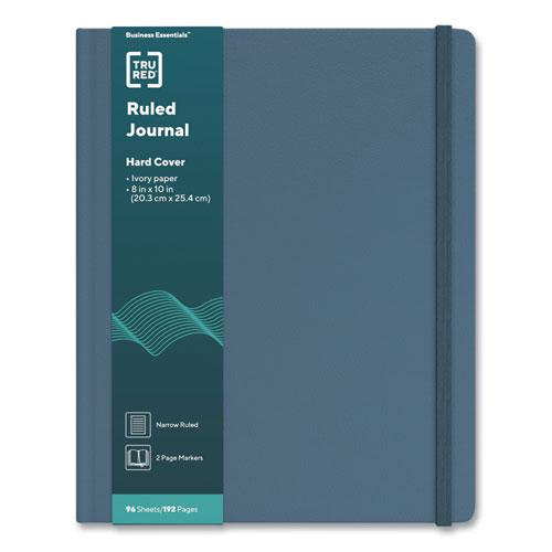 Hardcover Business Journal, Narrow Rule, Teal Cover, 10 x 8, 96 Sheets. Picture 1