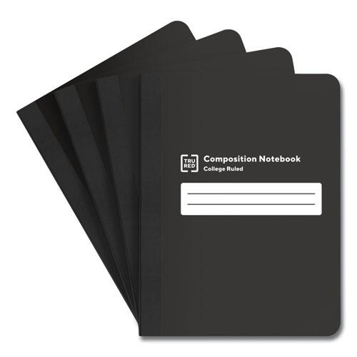 Composition Notebook, Medium/College Rule, Black/White Cover, 9.75 x 7.5, 80 Sheets, 4/Pack. Picture 1