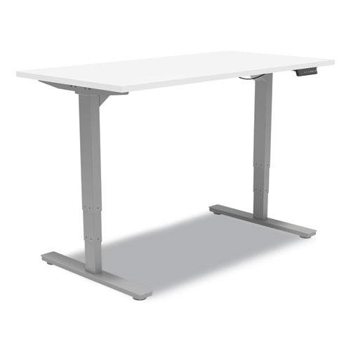 """Essentials Electric Sit-Stand Desk, 55.1"""" x 27.5"""" x 25.9"""" to 51.5"""", White/Aluminum. Picture 1"""