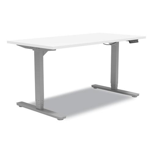 """Essentials Electric Sit-Stand Desk, 55.1"""" x 27.5"""" x 25.9"""" to 51.5"""", White/Aluminum. Picture 2"""