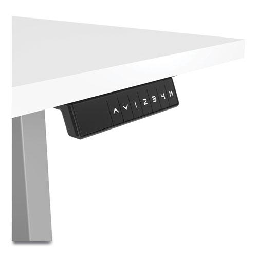 """Essentials Electric Sit-Stand Desk, 55.1"""" x 27.5"""" x 25.9"""" to 51.5"""", White/Aluminum. Picture 3"""