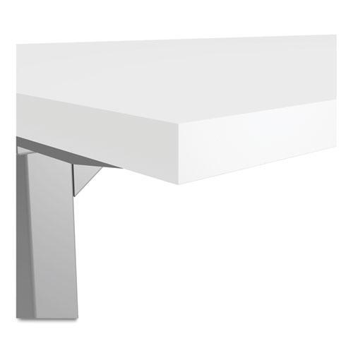 """Essentials Electric Sit-Stand Desk, 55.1"""" x 27.5"""" x 25.9"""" to 51.5"""", White/Aluminum. Picture 4"""