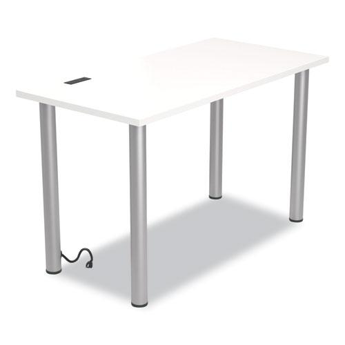 """Essentials Writing Table-Desk with Integrated Power Management, 47.5"""" x 23.7"""" x 28.8"""", White/Aluminum. Picture 1"""