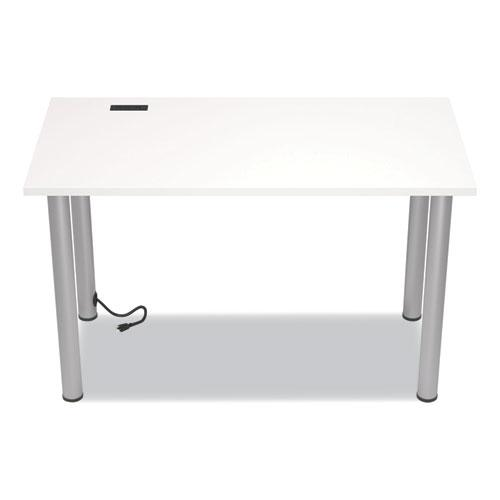 """Essentials Writing Table-Desk with Integrated Power Management, 47.5"""" x 23.7"""" x 28.8"""", White/Aluminum. Picture 2"""