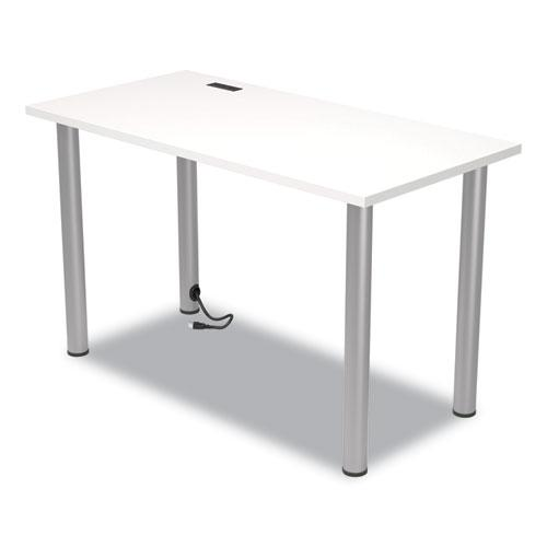 """Essentials Writing Table-Desk with Integrated Power Management, 47.5"""" x 23.7"""" x 28.8"""", White/Aluminum. Picture 3"""