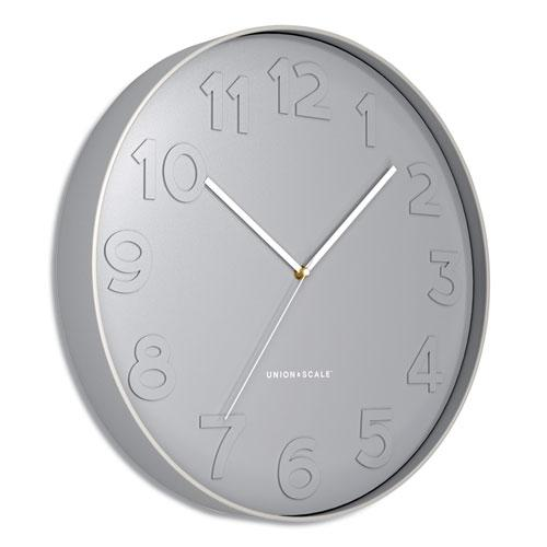 """Essentials Mid-Century Round Wall Clock, 12"""" Overall Diameter, Gray Case, 1 AA (Sold Separately). Picture 2"""