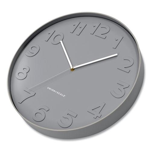 """Essentials Mid-Century Round Wall Clock, 12"""" Overall Diameter, Gray Case, 1 AA (Sold Separately). Picture 3"""