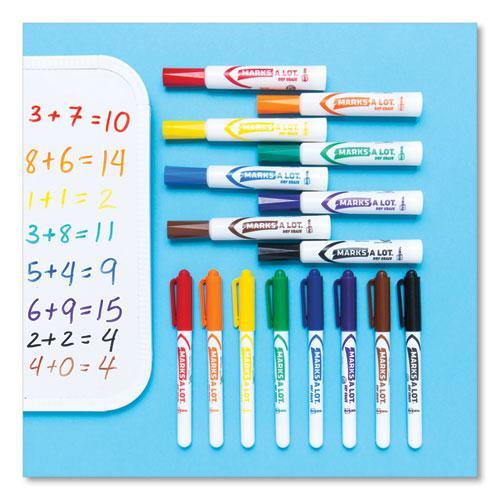 MARKS A LOT Desk-Style Dry Erase Marker, Broad Chisel Tip, Assorted Colors, 8/Set. Picture 4