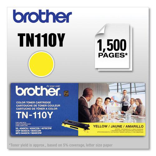 TN110Y Toner, 1,500 Page-Yield, Yellow. Picture 4