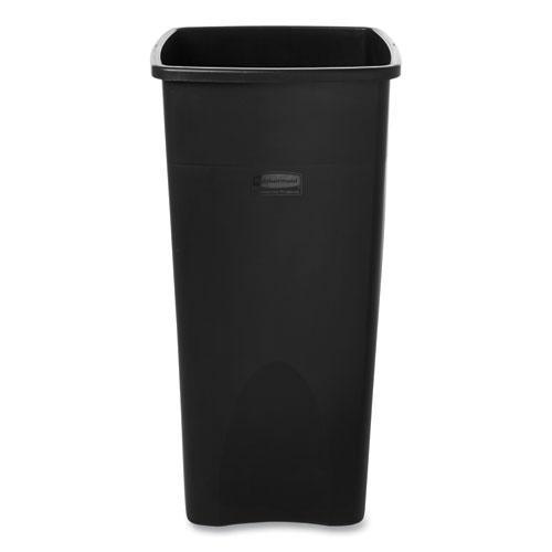 Untouchable Square Waste Receptacle, Plastic, 23 gal, Black. Picture 2