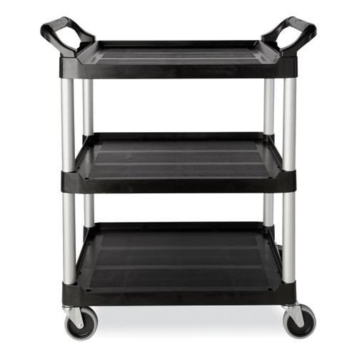 Open Sided Utility Cart, Three-Shelf, 40.63w x 20d x 37.81h, Black. Picture 2
