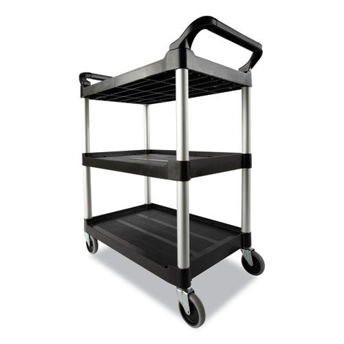 Open Sided Utility Cart, Three-Shelf, 40.63w x 20d x 37.81h, Black. Picture 3