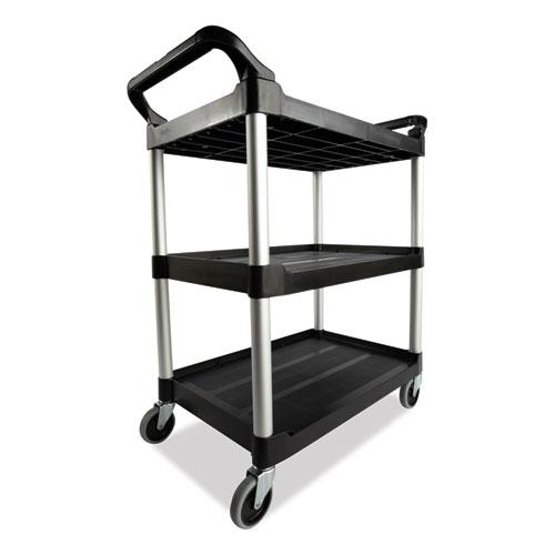 Open Sided Utility Cart, Three-Shelf, 40.63w x 20d x 37.81h, Black. Picture 4
