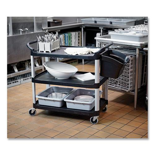 Open Sided Utility Cart, Three-Shelf, 40.63w x 20d x 37.81h, Black. Picture 5