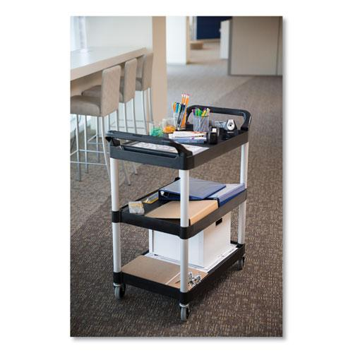 Open Sided Utility Cart, Three-Shelf, 40.63w x 20d x 37.81h, Black. Picture 7