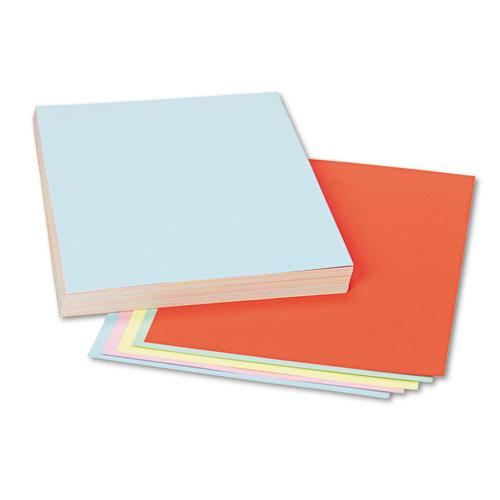 Assorted Colors Tagboard, 12 x 9, Blue/Canary/Green/Orange/Pink, 100/Pack. Picture 1