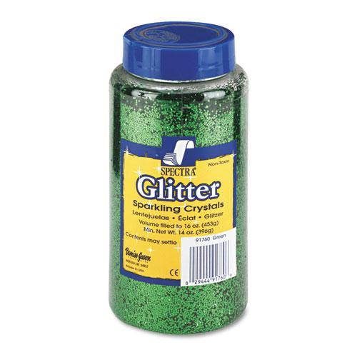 Spectra Glitter, .04 Hexagon Crystals, Green, 16 oz Shaker-Top Jar. Picture 1