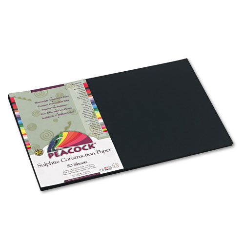 Pacon Peacock Sulphite Construction Paper, 76 lbs., 12 x 18, Black, 50 Sheets/Pack. Picture 1