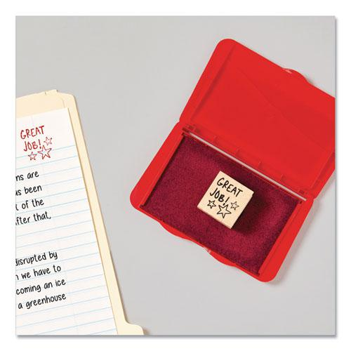 Pre-Inked Foam Stamp Pad, 4.25 x 2.75, Red. Picture 6
