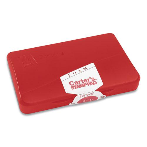 Pre-Inked Foam Stamp Pad, 4.25 x 2.75, Red. Picture 2