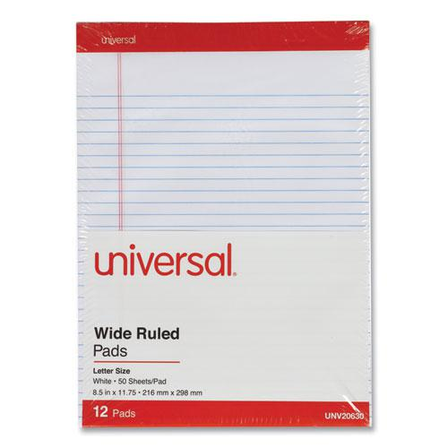Perforated Ruled Writing Pads, Wide/Legal Rule, Red Headband, 50 White 8.5 x 11.75 Sheets, Dozen. Picture 2